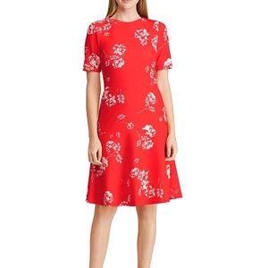 Ralph Lauren red cream poppy a-line dress size 2